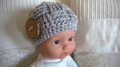 This baby beanie hat is so cute! It is hand crocheted with a soft acrylic yarn. Its big wood button give it much style ! The size is for a newborn. Perfect for a lovely baby photo shoot Baby Hats Knitting, Crochet Baby Hats, Crochet Gifts, Hand Crochet, Knitted Baby, Baby Beanie Hats, Crochet Beanie Hat, Baby Boy Gifts, Button
