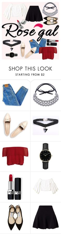 """Style trendy Rosegal chokers"" by carliruiz on Polyvore featuring moda, Levi's, Keepsake the Label, ROSEFIELD, Christian Dior, Hollister Co., Jimmy Choo, Miss Selfridge y Burberry"