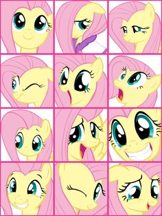 The many faces of Fluttershy.