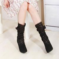 Hollow Out Bowknots Mid Calf Boot Mesh Stiletto Shoes Pump - Thumbnail 3