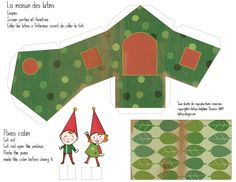 Printable Elves and house Christmas Town, Christmas Villages, Christmas Crafts, Dairy Diary, Christmas Templates, Christmas Printables, Paper Houses, Fabric Houses, House Template