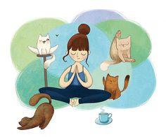 Yoga, Print of Original Illustration, Whimsical Art, Fine Art Print, Cats, Kitten, Blue, Green