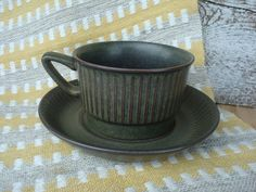 Scandinavian Vintage Coffee Cup with Saucer Ribbed by OLaLaVintage