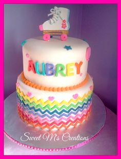 Roller skate and Rainbow Chevron Cake