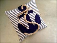 Ring bearer pillow, nautical, rope, anchor. $67.00, via Etsy.