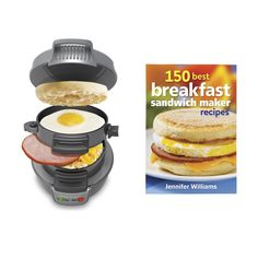 Hamilton Beach Breakfast Sandwich Maker Countertop, Silver + 150 Recipe Cookbook - FREE 1-3 DAY DELIVERY WITH HASSLE-FREE, 60-DAY RETURNS! #silver #recipe #cookbook #countertop #maker #beach #breakfast #sandwich #hamilton