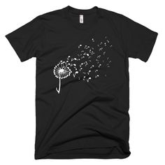 Dandelion Music Note T-Shirt AY, This t-shirt is Made To Order, one by one printed so we can control the quality. Cool Stuff, Piano Funny, Band Shirts, Music T Shirts, Music Humor, Shopping World, Great T Shirts, Music Notes, Direct To Garment Printer