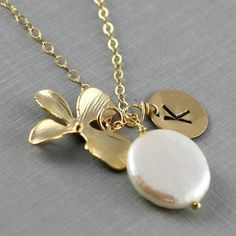 White Pearl Necklace wedding Necklace, Monogram Personalized Necklace, Coin Pearl, Romantic Bride Necklace, Bridesmaids Gift, Orchid Flower on Etsy, $36.00