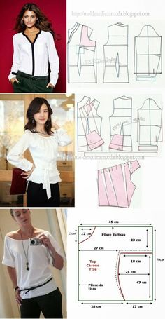 Sewing - Make Your Own Clothes - Sewing Method - Her Crochet Dress Sewing Patterns, Blouse Patterns, Clothing Patterns, Como Fazer Short, Costura Fashion, Diy Clothes, Clothes For Women, Sewing Blouses, Fashion Sewing