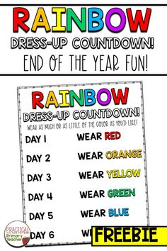 FREE End of the year rainbow dress-up countdown chart. End of the year fun for the elementary classroom. Fun team and community activity to wrap up the school year. Great low-prep activity for an easy… More