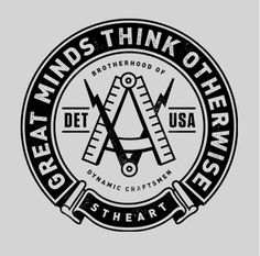 David Smith, Great Minds Think Otherwise, from BlkSmith Design Co. Coin Design, Badge Design, Typography Logo, Logo Branding, Lettering, Retro, Creative Logo, Creative Resume, Creative Crafts