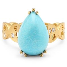 Earth Treasure collection ring in 18k yellow gold with 7 ct. Sleeping Beauty turquoise and 0.15 ct. t.w. diamonds, $2,655, Dana Bronfman