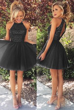 A Line Beaded Halter Pleated Tulle Homecoming Dresses Short Prom Gowns 2017