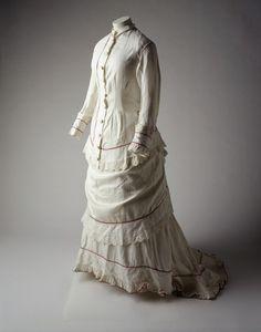 White cotton muslin dress (front), c. 1880.