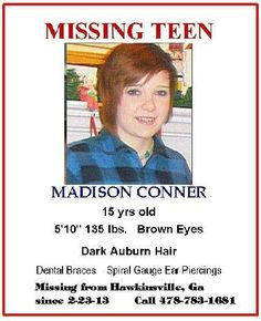 As of 3/1 still missing! Please help find Madison! Repin. PLEASE!