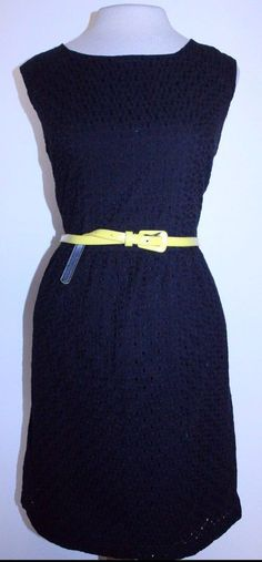 George Dress 6 Black Sleeveless Belted Waist Fully Lined Eyelet Sheat Dress #GEORGE #Sheath #CasualCareer