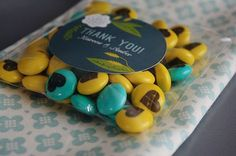 Turquoise and Yellow Wedding Shower Favors with Custom Candy from MY MM'S  #MC #sponsored #ambassador