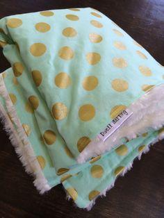 Mint gold dot blanket, minky blanket, mint nursery, gold nursery, baby shower gift, michael miller glitz, mint gold bedding, modern baby by DwellDarling on Etsy https://www.etsy.com/listing/192854042/mint-gold-dot-blanket-minky-blanket-mint