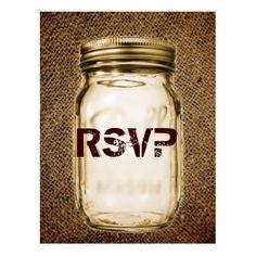 vintage barnwood country mason jar wedding rsvp postcard