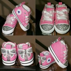 Pink and Silver Bedazzled Converse Baby Toddler Shoes 9f72d48fb