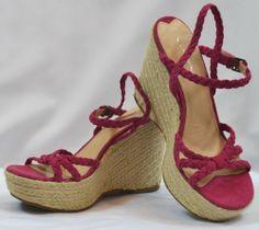 VIA SPIGA Dark Fuchsia/Pink Cross/Ancle Cord Strap Wedge Sandal Shoes Sz 7.5