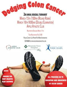 2nd Annual Dodging Colon Cancer DODGEBALL TOURNAMENT at Apple Athletic Club in Idaho Falls, ID.