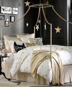 Black Gold Bedroom The Emily And Meritt Liquid Gold Throw Girls Bedroom, Teenage Girl Bedrooms, Big Girl Rooms, Bedroom Themes, Dream Bedroom, Star Bedroom, Bedroom Ideas, Bedroom Black, Bedroom Decor