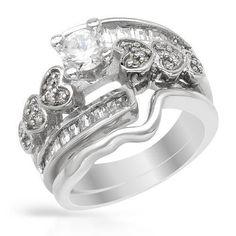 Sterling Silver 3.55 CTW Cubic Zirconias Wedding Set Ladies Ring. Ring Size 6. Total Item weight 8.0 g. VividGemz. $34.00