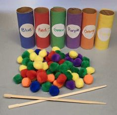 Color pompom sorting with chop sticks