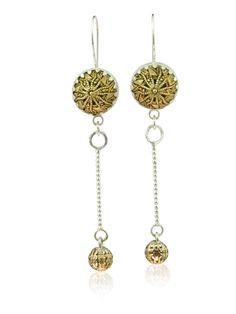 Drop filigree button earrings set in silver