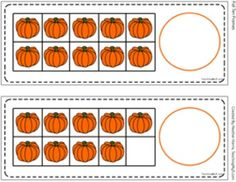 Tens frames with pumpkins