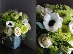 green and white anemonies and roses