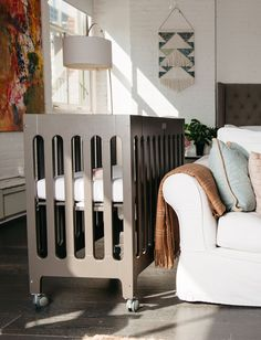 alma mini crib is about space saving, room-to-room mobility and storage. the alma mini crib folding feature is perfect for grandparents