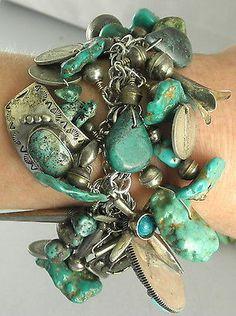 218g-Navajo-Zuni-GREEN-Turquoise-Charm-Bracelet