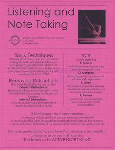 Note Taking - only if term 1 nursing students could get this behavior, their ability to successfully complete school would be increased dramatically. Note Taking Strategies, Note Taking Tips, Academic Success Center, School Study Tips, School Tips, School Notes, Med School, High School, Study Habits