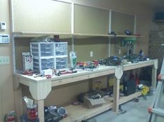 Furniture: Fantastic Garage Workbench Ideas For Your Garage, how to build a workbench in your garage, garage workbench plan ~ BIEICONS. workbench diy garages to Try. Find out more at the picture link. Garage Workbench Plans, Building A Workbench, Building A Garage, Diy Workbench, Garage Renovation, Garage Remodel, Woodworking Plans, Woodworking Projects, Modern Garage