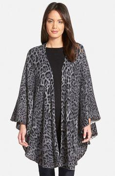 Sofia Cashmere Leopard Print Cashmere Knit Cape available at #Nordstrom