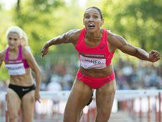 USA's Lolo Jones crosses the finish line to win women's 100-meter hurdles race at the Gyulai Istvan Memorial Track and Field Grand Prix in Szekesfehervar, Hungary.  Tibor Illyes, EPA