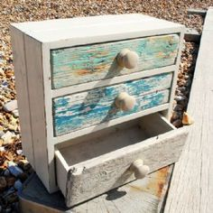 Turquoise Blue Three Drawer Cabinet   Driftwood Furniture   Wooden Cabinet