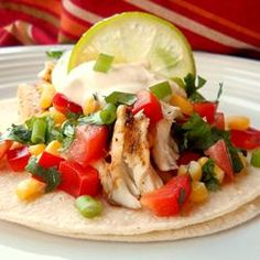 """Fiery Fish Tacos with Crunchy Corn Salsa   """"Very delicious fish tacos! I cut the cayenne pepper and salt in half and added garlic powder to the fish as well! The corn salsa was very good!"""" http://allrecipes.com/recipe/fiery-fish-tacos-with-crunchy-corn-salsa/Detail.aspx"""