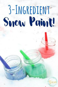 3 Ingredient snow paint that mixes cornstarch and water to create vibrant colors that can be used for painting in the sn Winter Activities For Toddlers, Winter Outdoor Activities, Snow Activities, Winter Crafts For Kids, Indoor Activities For Kids, Winter Kids, Toddler Activities, Nature Activities, Sensory Activities