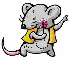 Tiny mouse with flower machine embroidery design. Machine embroidery design. www.embroideres.com