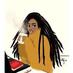 Break of day with my ☕️ #nichollekobi #illustration