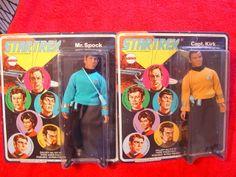"""NEW Vintage Star Trek NOS MEGO 1974 Captain Kirk And Spock 8"""" Figure Dolls 2 LOT"""