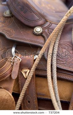close up detail of western horse saddle and lasso rope