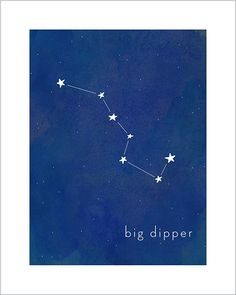 Art print for baby and kid's rooms from Hello Happy Design www.hellohappydesign.com. Big dipper constellation; stars