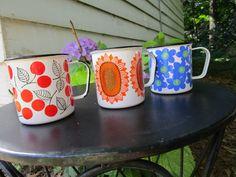 Arabia Finland Finel Enamel Cups Cherries Blue Flowers & Rare Sunflower