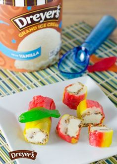 Dreyers Ice Cream Sushi: Craving sushi? Craving ice cream, too? This fun dessert idea is the best of both worlds, all rolled into one! Just take a fruit roll snack, fill it with crushed cookies and top with ice cream and sticks of apple and roll it back up. Then cut into small slices and set on a plate to serve. Chopsticks optional!