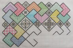 Tracy L Blocks 4 & 5 Finished -  beautiful! Save the Stitches' free project www.blackworkjourney.co.uk