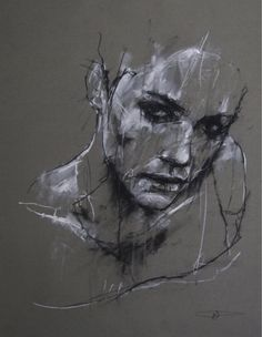 Daily Sketches of Guy Denning Artist: Guy Denning, charcoal and chalk {contemporary female head sketch woman face portrait drawing} Despair !Artist: Guy Denning, charcoal and chalk {contemporary female head sketch woman face portrait drawing} Despair ! Life Drawing, Figure Drawing, Painting & Drawing, Paper Drawing, Manga Drawing, Painting Abstract, Pencil Portrait, Portrait Art, Abstract Portrait